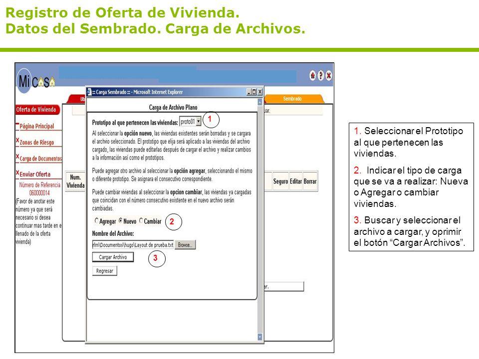 Registro de Oferta de Vivienda. Datos del Sembrado. Carga de Archivos. 1. Seleccionar el Prototipo al que pertenecen las viviendas. 2. Indicar el tipo
