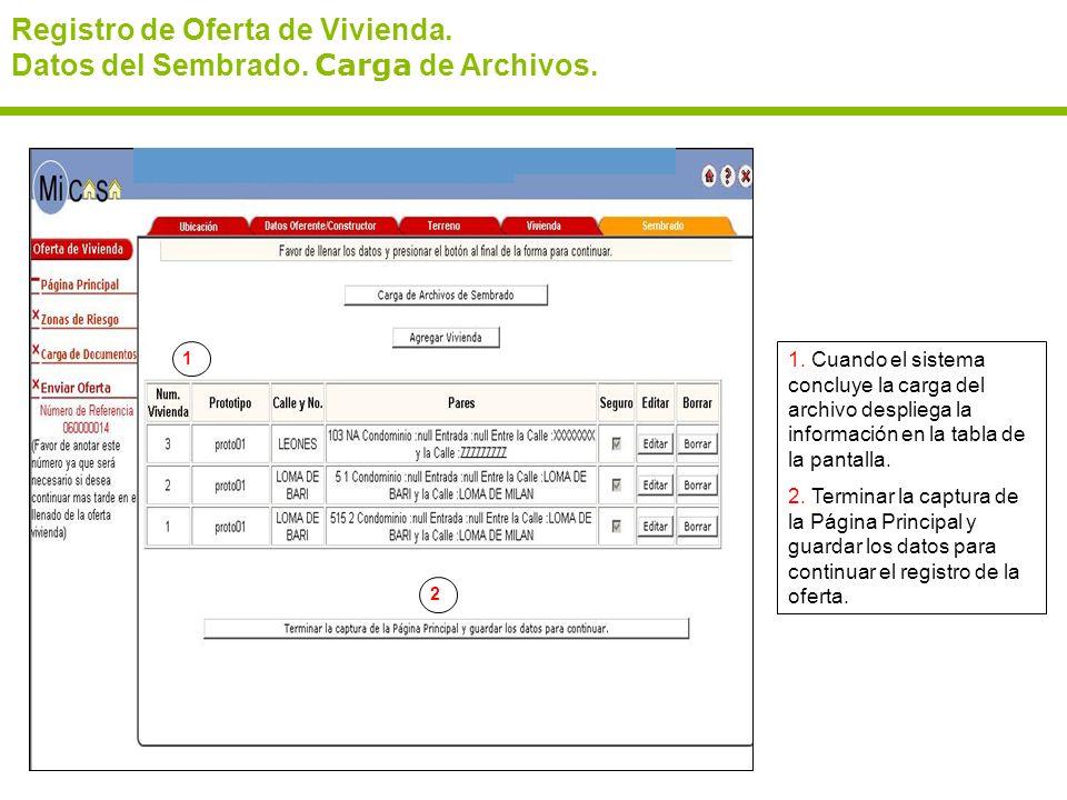 Registro de Oferta de Vivienda. Datos del Sembrado. Carga de Archivos. 1. Cuando el sistema concluye la carga del archivo despliega la información en