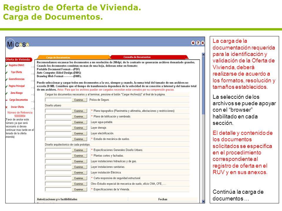 Registro de Oferta de Vivienda. Carga de Documentos. La carga de la documentación requerida para la identificación y validación de la Oferta de Vivien