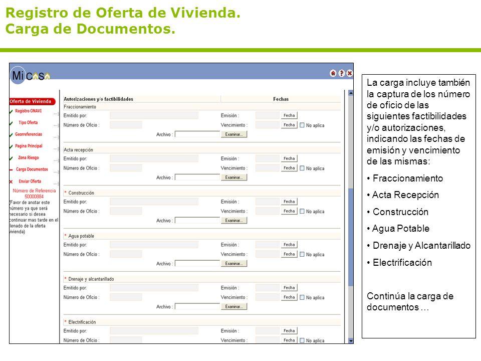 Registro de Oferta de Vivienda. Carga de Documentos. La carga incluye también la captura de los número de oficio de las siguientes factibilidades y/o