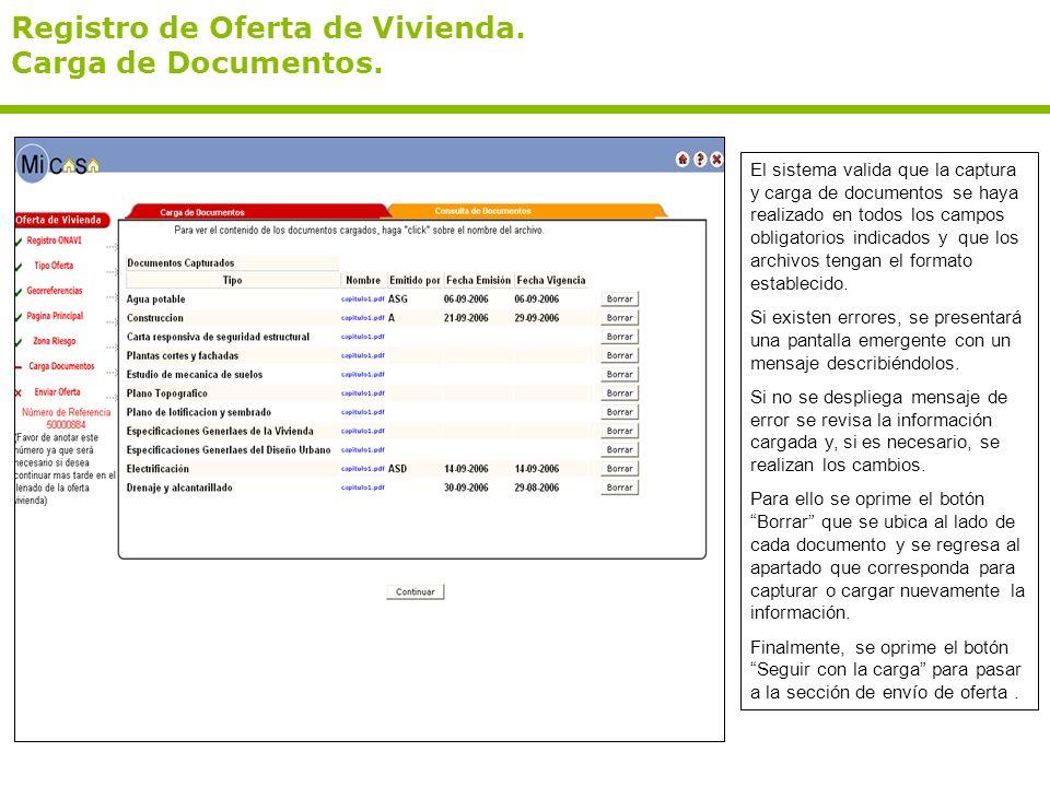 Registro de Oferta de Vivienda. Carga de Documentos. El sistema valida que la captura y carga de documentos se haya realizado en todos los campos obli