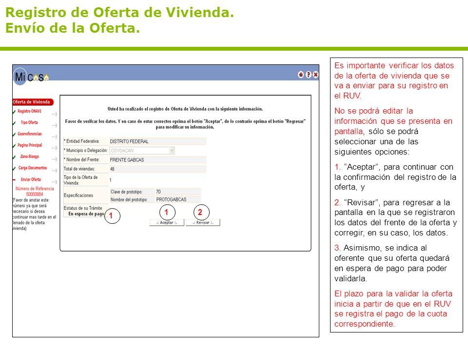 Registro de Oferta de Vivienda. Envío de la Oferta. Es importante verificar los datos de la oferta de vivienda que se va a enviar para su registro en