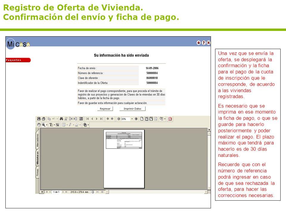 Registro de Oferta de Vivienda.Confirmación del envío y ficha de pago.