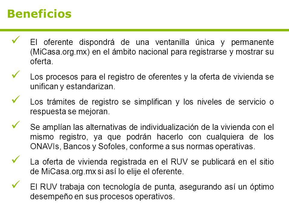 El oferente dispondrá de una ventanilla única y permanente (MiCasa.org.mx) en el ámbito nacional para registrarse y mostrar su oferta. Los procesos pa