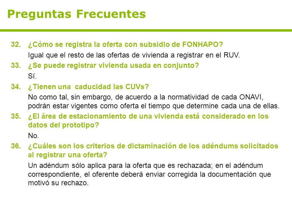 Preguntas Frecuentes 32.¿Cómo se registra la oferta con subsidio de FONHAPO? Igual que el resto de las ofertas de vivienda a registrar en el RUV. 33.¿