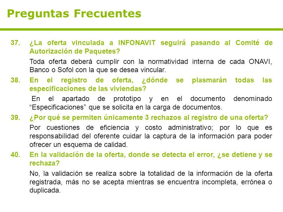 Preguntas Frecuentes 37.¿La oferta vinculada a INFONAVIT seguirá pasando al Comité de Autorización de Paquetes? Toda oferta deberá cumplir con la norm