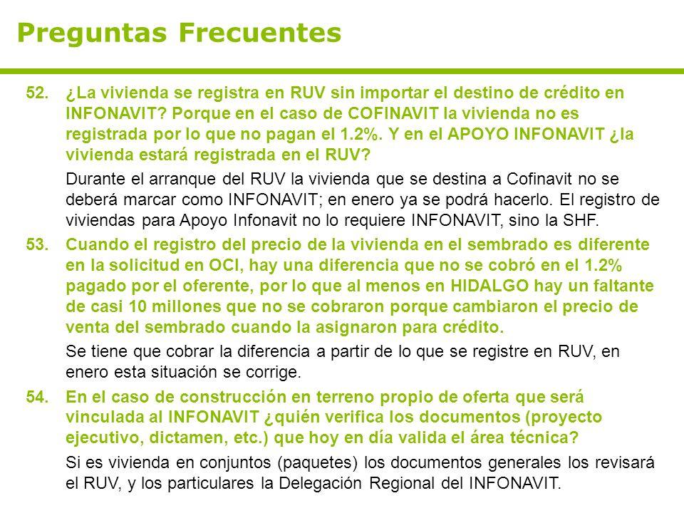 Preguntas Frecuentes 52.¿La vivienda se registra en RUV sin importar el destino de crédito en INFONAVIT.