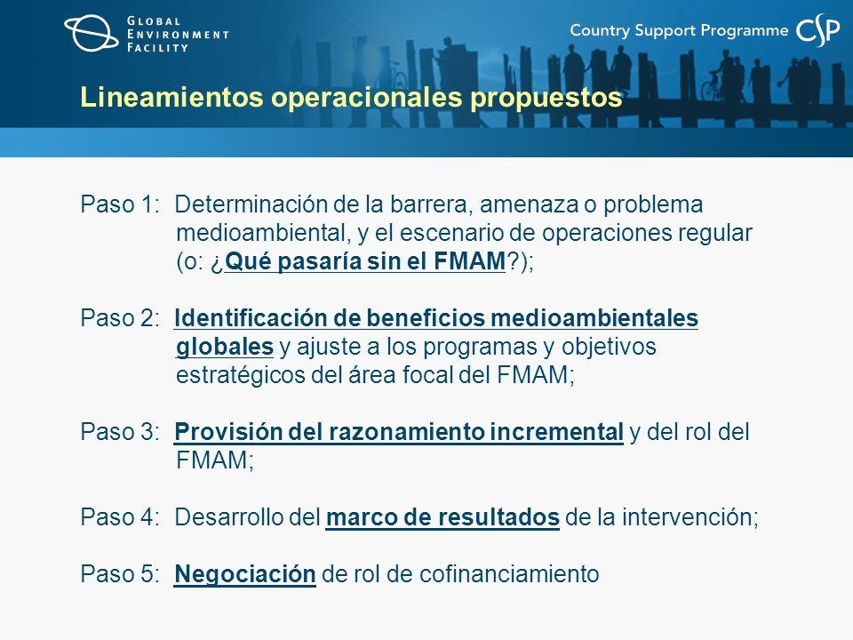 Lineamientos operacionales propuestos Paso 1: Determinación de la barrera, amenaza o problema medioambiental, y el escenario de operaciones regular (o: ¿Qué pasaría sin el FMAM ); Paso 2: Identificación de beneficios medioambientales globales y ajuste a los programas y objetivos estratégicos del área focal del FMAM; Paso 3: Provisión del razonamiento incremental y del rol del FMAM; Paso 4: Desarrollo del marco de resultados de la intervención; Paso 5: Negociación de rol de cofinanciamiento