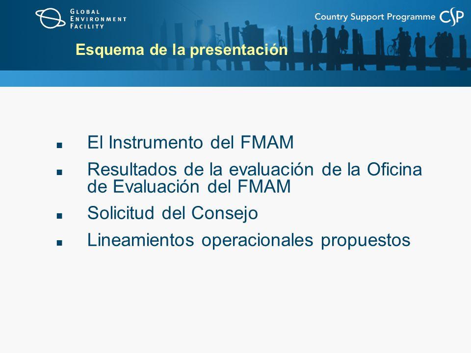 Esquema de la presentación El Instrumento del FMAM Resultados de la evaluación de la Oficina de Evaluación del FMAM Solicitud del Consejo Lineamientos operacionales propuestos
