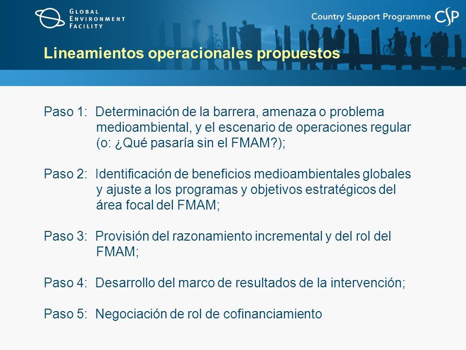 Lineamientos operacionales propuestos Paso 1: Determinación de la barrera, amenaza o problema medioambiental, y el escenario de operaciones regular (o: ¿Qué pasaría sin el FMAM?); Paso 2: Identificación de beneficios medioambientales globales y ajuste a los programas y objetivos estratégicos del área focal del FMAM; Paso 3: Provisión del razonamiento incremental y del rol del FMAM; Paso 4: Desarrollo del marco de resultados de la intervención; Paso 5: Negociación de rol de cofinanciamiento
