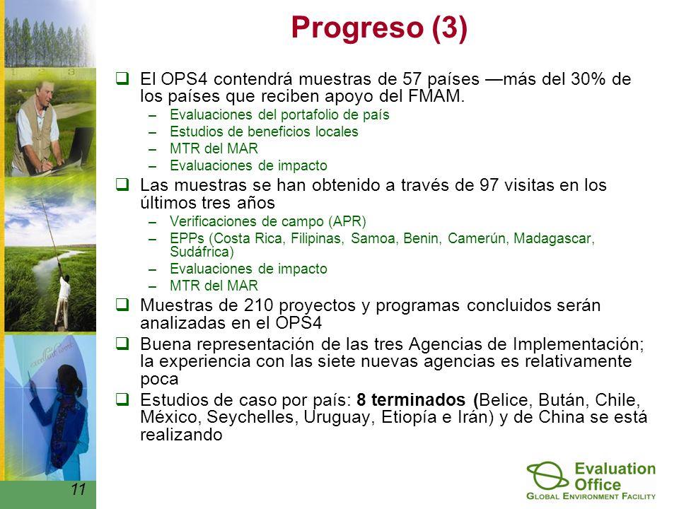 Progreso (3) El OPS4 contendrá muestras de 57 países más del 30% de los países que reciben apoyo del FMAM.