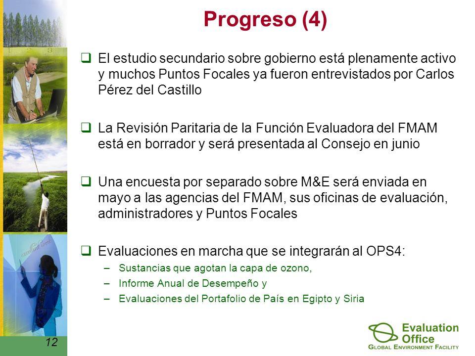 Progreso (4) El estudio secundario sobre gobierno está plenamente activo y muchos Puntos Focales ya fueron entrevistados por Carlos Pérez del Castillo La Revisión Paritaria de la Función Evaluadora del FMAM está en borrador y será presentada al Consejo en junio Una encuesta por separado sobre M&E será enviada en mayo a las agencias del FMAM, sus oficinas de evaluación, administradores y Puntos Focales Evaluaciones en marcha que se integrarán al OPS4: –Sustancias que agotan la capa de ozono, –Informe Anual de Desempeño y –Evaluaciones del Portafolio de País en Egipto y Siria 12