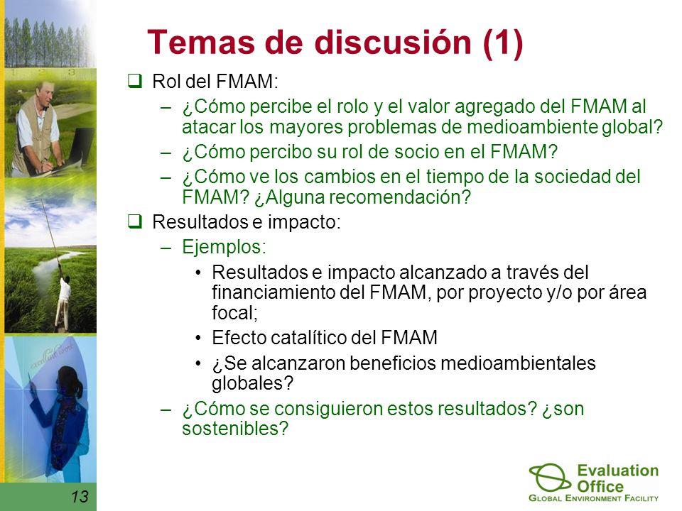 13 Temas de discusión (1) Rol del FMAM: –¿Cómo percibe el rolo y el valor agregado del FMAM al atacar los mayores problemas de medioambiente global.