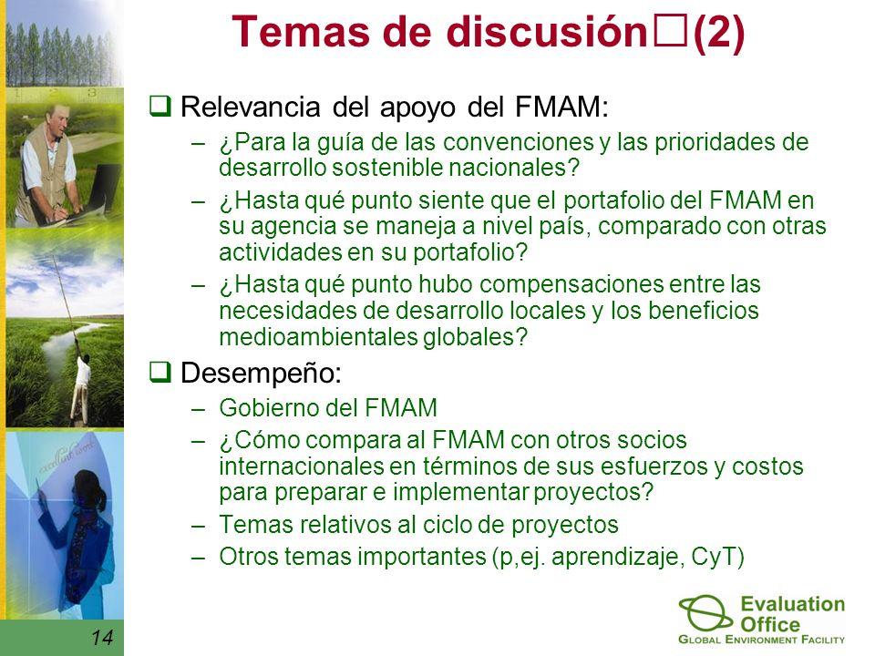 Temas de discusión(2) Relevancia del apoyo del FMAM: –¿Para la guía de las convenciones y las prioridades de desarrollo sostenible nacionales.