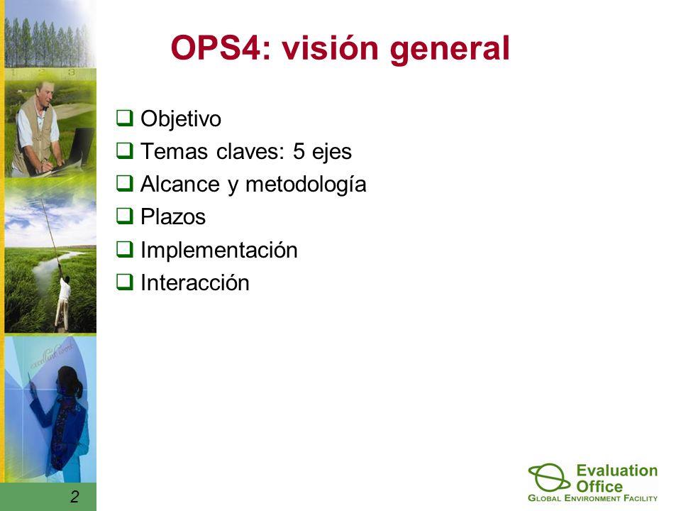 2 OPS4: visión general Objetivo Temas claves: 5 ejes Alcance y metodología Plazos Implementación Interacción