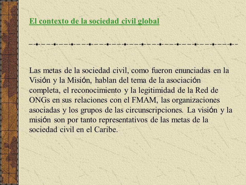 El contexto de la sociedad civil global Las metas de la sociedad civil, como fueron enunciadas en la Visi ó n y la Misi ó n, hablan del tema de la asociaci ó n completa, el reconocimiento y la legitimidad de la Red de ONGs en sus relaciones con el FMAM, las organizaciones asociadas y los grupos de las circunscripciones.