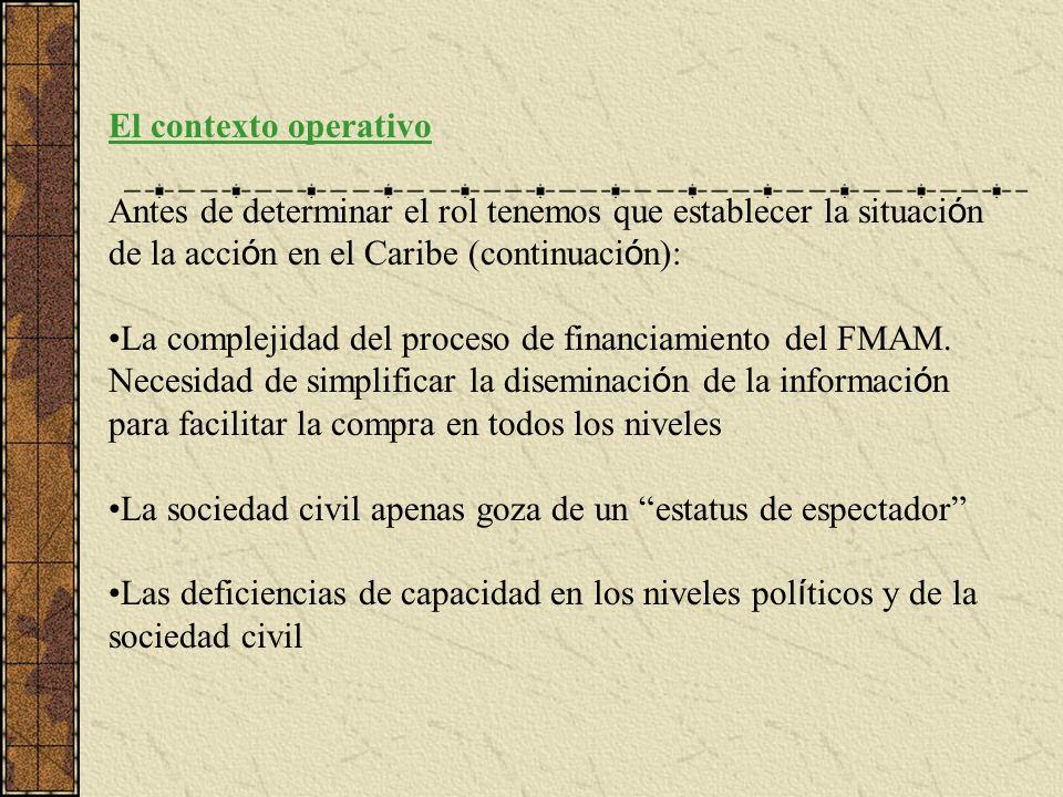 El contexto operativo Antes de determinar el rol tenemos que establecer la situaci ó n de la acci ó n en el Caribe (continuaci ó n): La complejidad del proceso de financiamiento del FMAM.