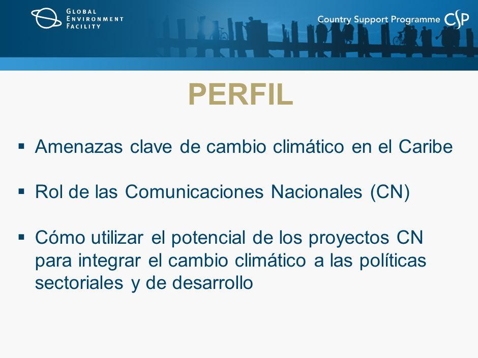 PERFIL Amenazas clave de cambio climático en el Caribe Rol de las Comunicaciones Nacionales (CN) Cómo utilizar el potencial de los proyectos CN para integrar el cambio climático a las políticas sectoriales y de desarrollo