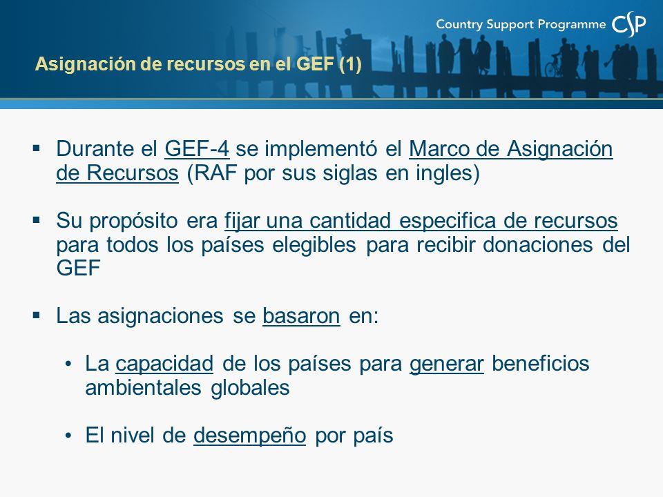 Durante el GEF-4 se implementó el Marco de Asignación de Recursos (RAF por sus siglas en ingles) Su propósito era fijar una cantidad especifica de rec