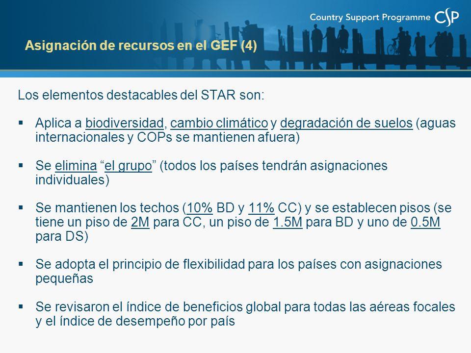 Los elementos destacables del STAR son: Aplica a biodiversidad, cambio climático y degradación de suelos (aguas internacionales y COPs se mantienen afuera) Se elimina el grupo (todos los países tendrán asignaciones individuales) Se mantienen los techos (10% BD y 11% CC) y se establecen pisos (se tiene un piso de 2M para CC, un piso de 1.5M para BD y uno de 0.5M para DS) Se adopta el principio de flexibilidad para los países con asignaciones pequeñas Se revisaron el índice de beneficios global para todas las aéreas focales y el índice de desempeño por país Asignación de recursos en el GEF (4)