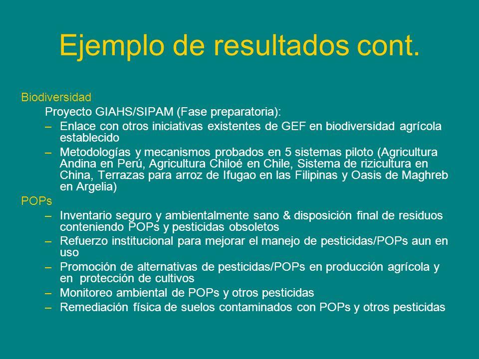 Ejemplo de resultados cont. Biodiversidad Proyecto GIAHS/SIPAM (Fase preparatoria): –Enlace con otros iniciativas existentes de GEF en biodiversidad a