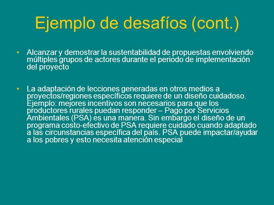 Ejemplo de desafíos (cont.) Alcanzar y demostrar la sustentabilidad de propuestas envolviendo múltiples grupos de actores durante el periodo de implem
