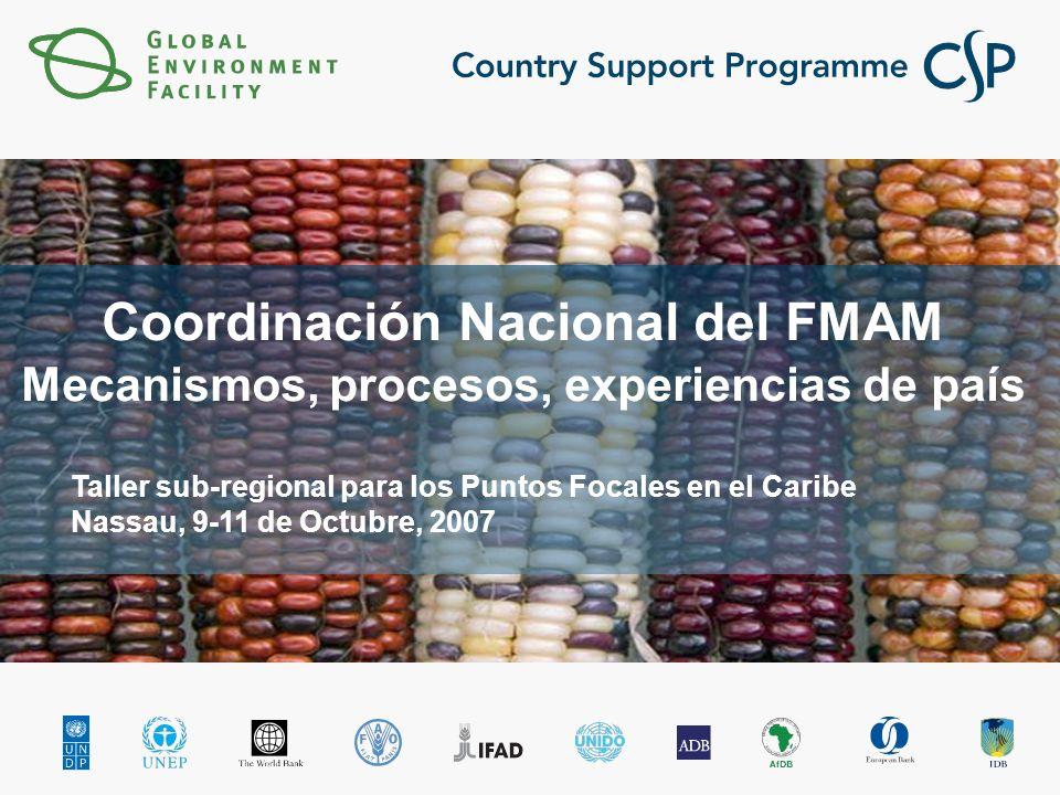 Coordinación Nacional del FMAM Mecanismos, procesos, experiencias de país Taller sub-regional para los Puntos Focales en el Caribe Nassau, 9-11 de Octubre, 2007