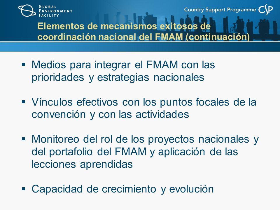 Elementos de mecanismos exitosos de coordinación nacional del FMAM (continuación) Medios para integrar el FMAM con las prioridades y estrategias nacionales Vínculos efectivos con los puntos focales de la convención y con las actividades Monitoreo del rol de los proyectos nacionales y del portafolio del FMAM y aplicación de las lecciones aprendidas Capacidad de crecimiento y evolución