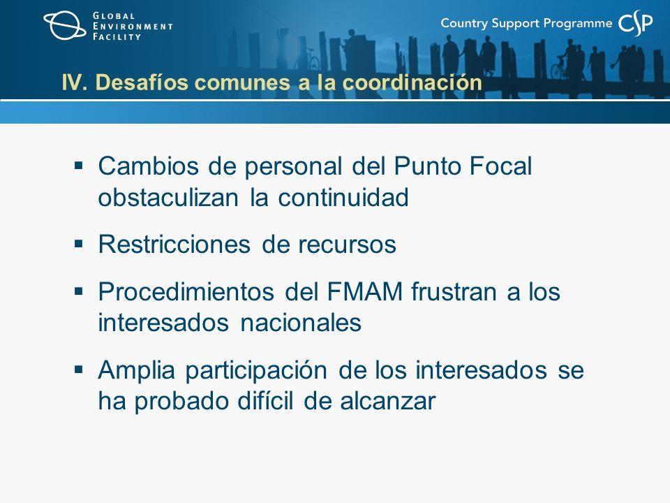IV. Desafíos comunes a la coordinación Cambios de personal del Punto Focal obstaculizan la continuidad Restricciones de recursos Procedimientos del FM