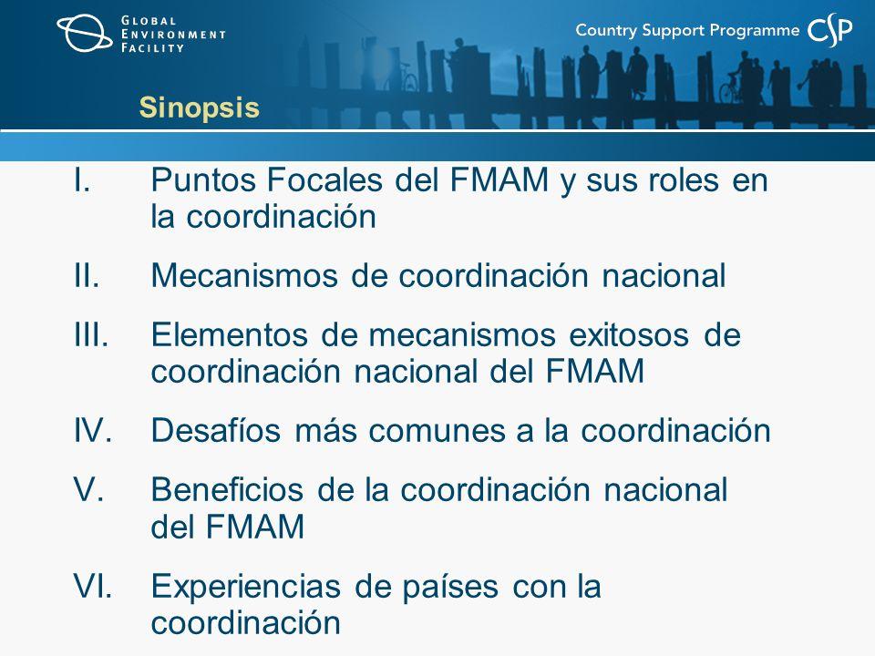 Sinopsis I.Puntos Focales del FMAM y sus roles en la coordinación II.Mecanismos de coordinación nacional III.Elementos de mecanismos exitosos de coordinación nacional del FMAM IV.Desafíos más comunes a la coordinación V.Beneficios de la coordinación nacional del FMAM VI.Experiencias de países con la coordinación