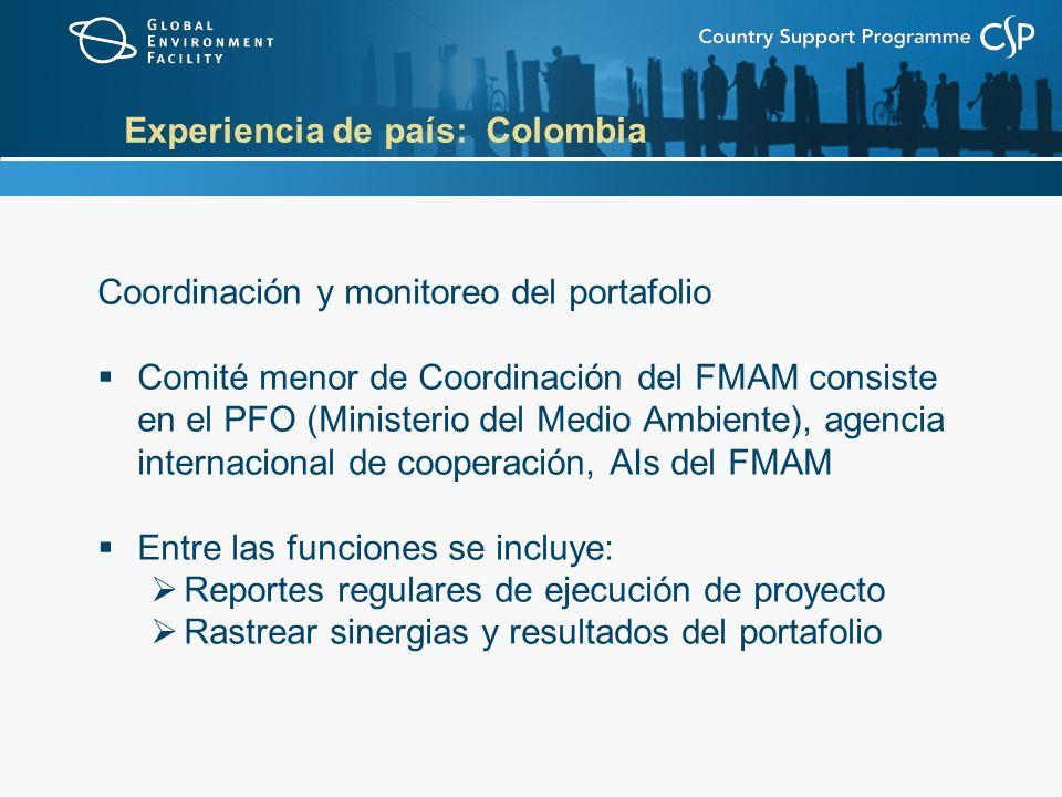 Experiencia de país: Colombia Coordinación y monitoreo del portafolio Comité menor de Coordinación del FMAM consiste en el PFO (Ministerio del Medio Ambiente), agencia internacional de cooperación, AIs del FMAM Entre las funciones se incluye: Reportes regulares de ejecución de proyecto Rastrear sinergias y resultados del portafolio
