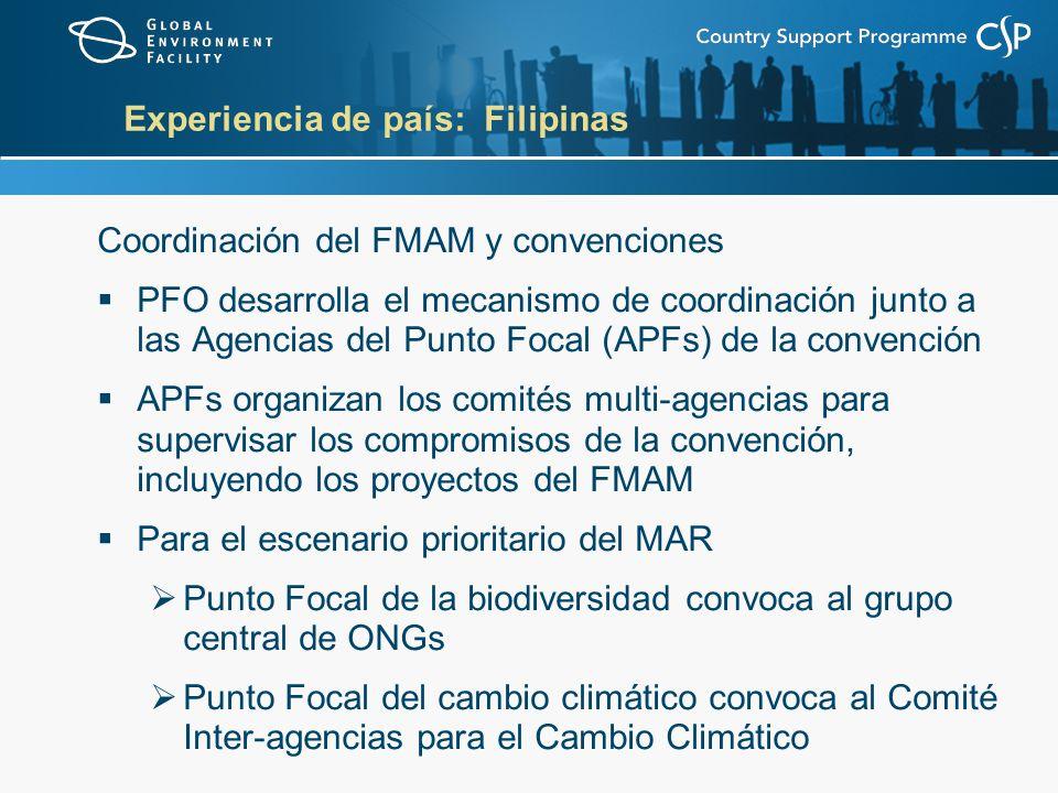 Experiencia de país: Filipinas Coordinación del FMAM y convenciones PFO desarrolla el mecanismo de coordinación junto a las Agencias del Punto Focal (APFs) de la convención APFs organizan los comités multi-agencias para supervisar los compromisos de la convención, incluyendo los proyectos del FMAM Para el escenario prioritario del MAR Punto Focal de la biodiversidad convoca al grupo central de ONGs Punto Focal del cambio climático convoca al Comité Inter-agencias para el Cambio Climático