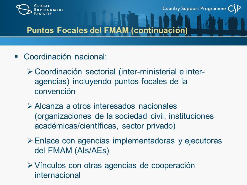 Puntos Focales del FMAM (continuación) Coordinación nacional: Coordinación sectorial (inter-ministerial e inter- agencias) incluyendo puntos focales de la convención Alcanza a otros interesados nacionales (organizaciones de la sociedad civil, instituciones académicas/científicas, sector privado) Enlace con agencias implementadoras y ejecutoras del FMAM (AIs/AEs) Vínculos con otras agencias de cooperación internacional