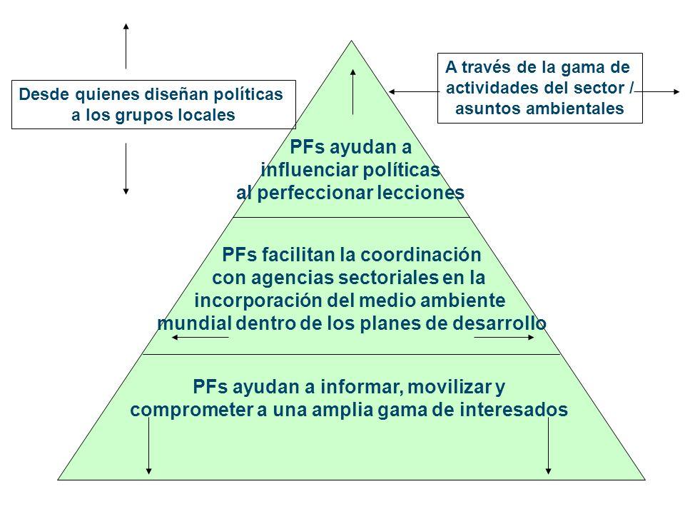 PFs ayudan a informar, movilizar y comprometer a una amplia gama de interesados PFs facilitan la coordinación con agencias sectoriales en la incorporación del medio ambiente mundial dentro de los planes de desarrollo PFs ayudan a influenciar políticas al perfeccionar lecciones Desde quienes diseñan políticas a los grupos locales A través de la gama de actividades del sector / asuntos ambientales