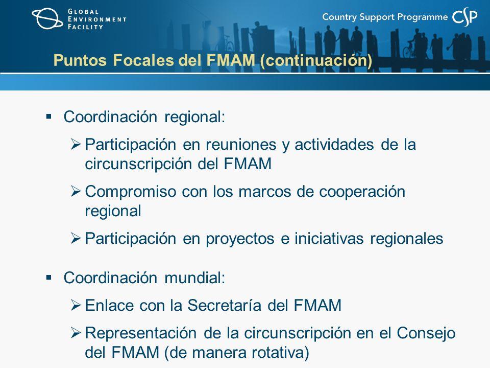 Puntos Focales del FMAM (continuación) Coordinación regional: Participación en reuniones y actividades de la circunscripción del FMAM Compromiso con los marcos de cooperación regional Participación en proyectos e iniciativas regionales Coordinación mundial: Enlace con la Secretaría del FMAM Representación de la circunscripción en el Consejo del FMAM (de manera rotativa)