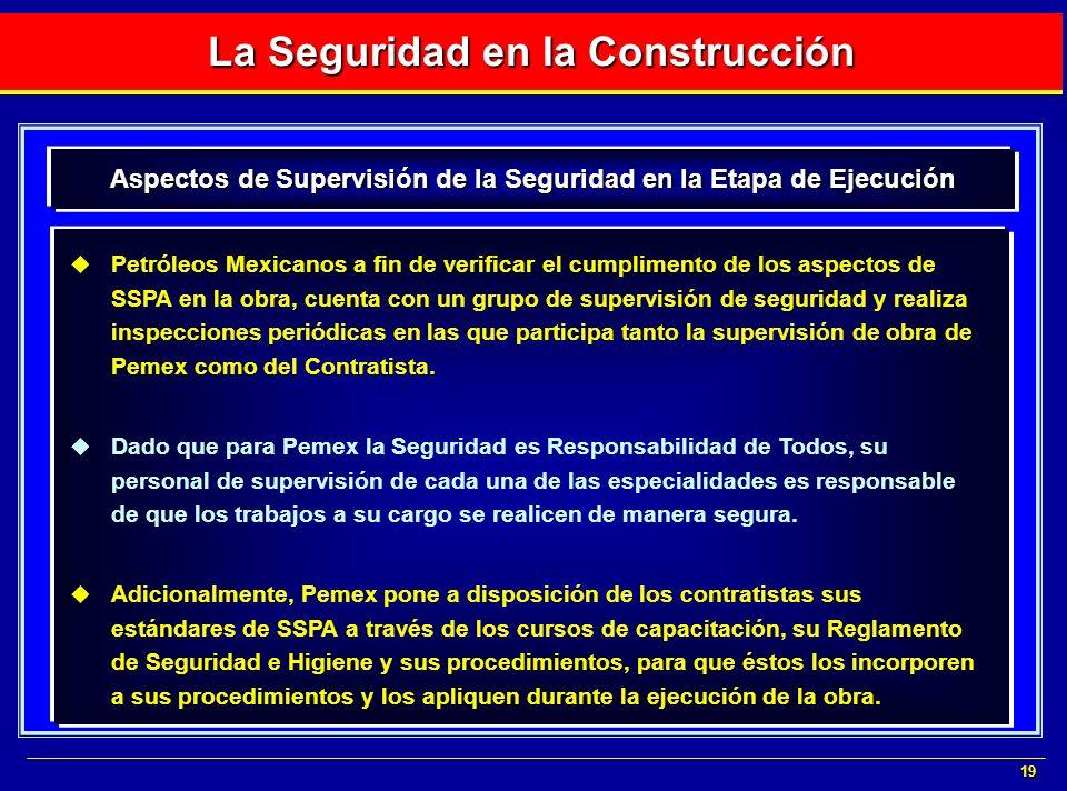 19 Petróleos Mexicanos a fin de verificar el cumplimento de los aspectos de SSPA en la obra, cuenta con un grupo de supervisión de seguridad y realiza