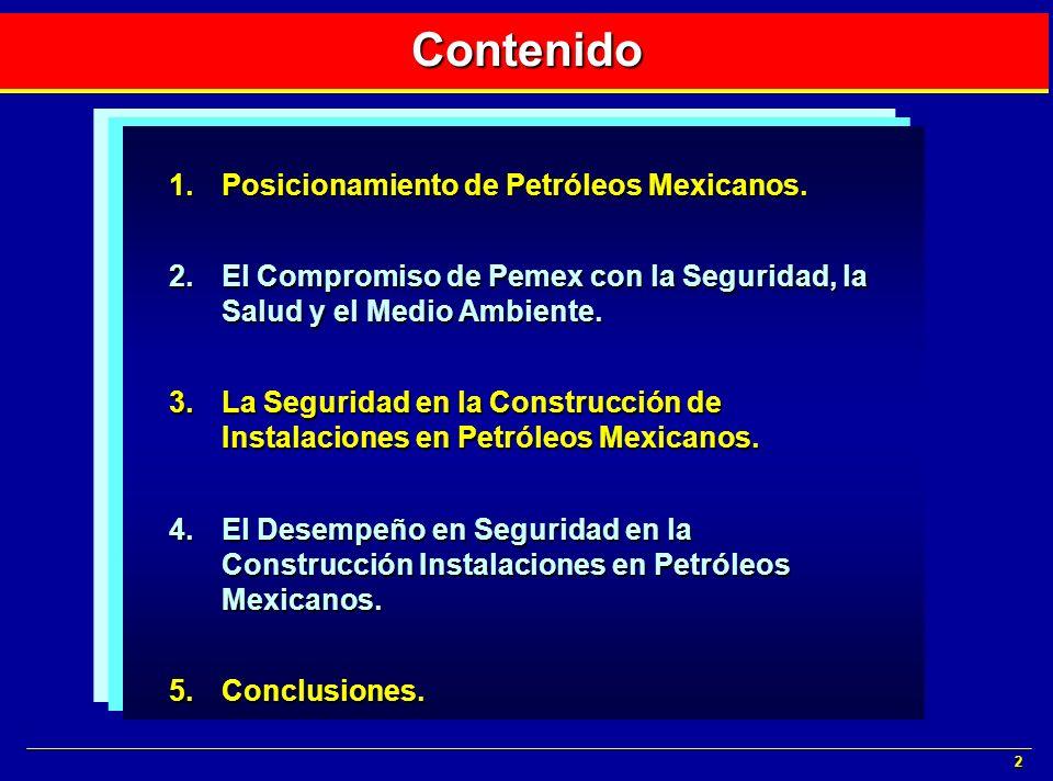 2 Contenido 1.Posicionamiento de Petróleos Mexicanos. 2.El Compromiso de Pemex con la Seguridad, la Salud y el Medio Ambiente. 3.La Seguridad en la Co
