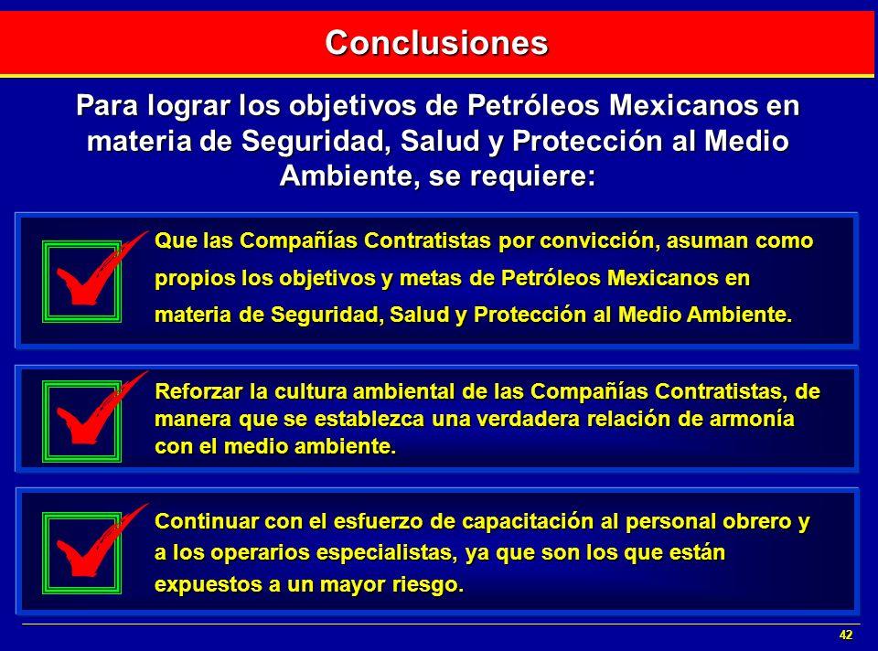42 Para lograr los objetivos de Petróleos Mexicanos en materia de Seguridad, Salud y Protección al Medio Ambiente, se requiere: Que las Compañías Cont