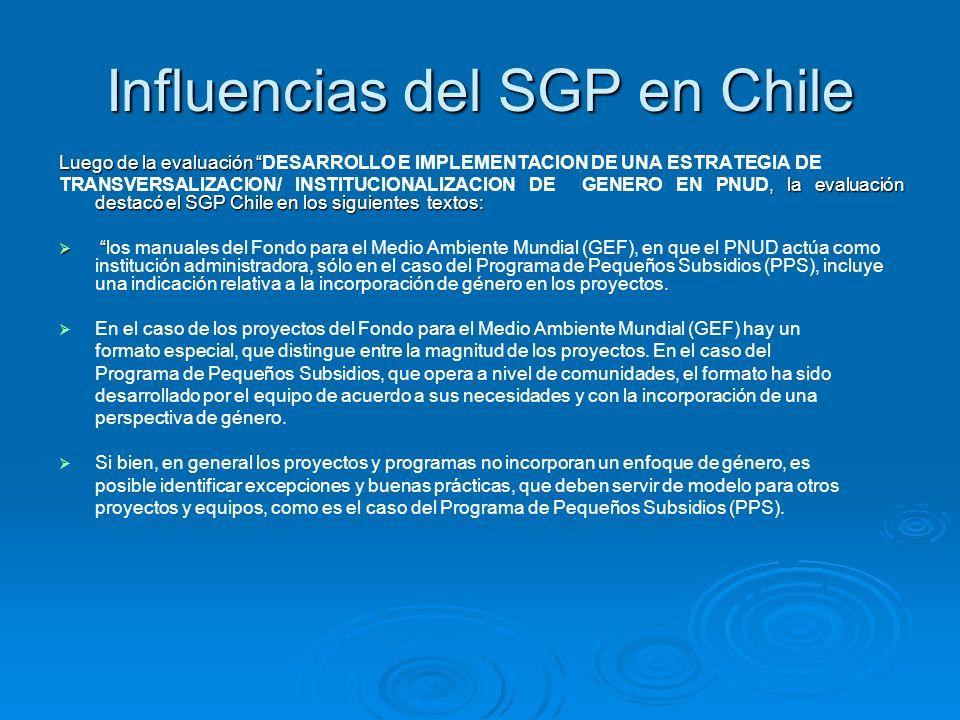 Influencias del SGP en Chile Luego de la evaluación Luego de la evaluación DESARROLLO E IMPLEMENTACION DE UNA ESTRATEGIA DE, la evaluación destacó el