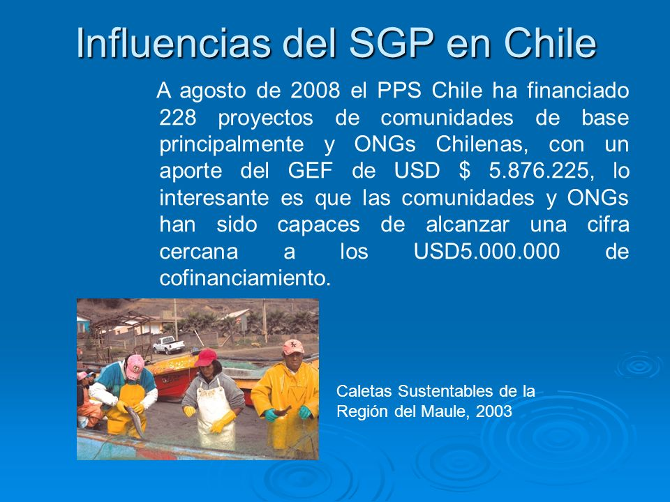 Influencias del SGP en Chile A agosto de 2008 el PPS Chile ha financiado 228 proyectos de comunidades de base principalmente y ONGs Chilenas, con un a
