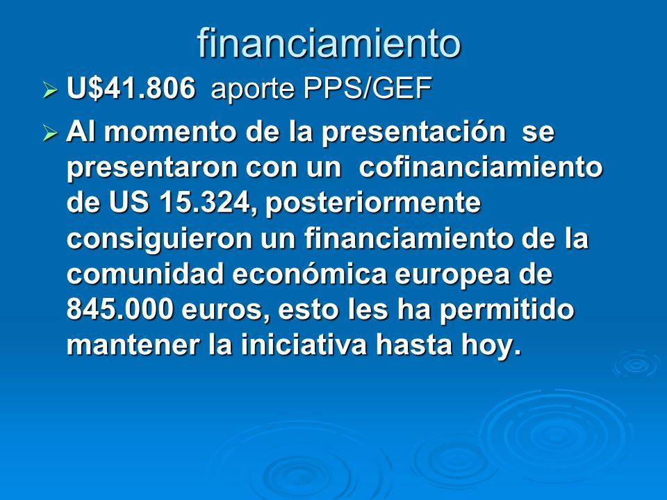 financiamiento U$41.806 aporte PPS/GEF U$41.806 aporte PPS/GEF Al momento de la presentación se presentaron con un cofinanciamiento de US 15.324, post