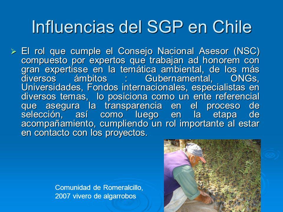 Influencias del SGP en Chile El rol que cumple el Consejo Nacional Asesor (NSC) compuesto por expertos que trabajan ad honorem con gran expertisse en