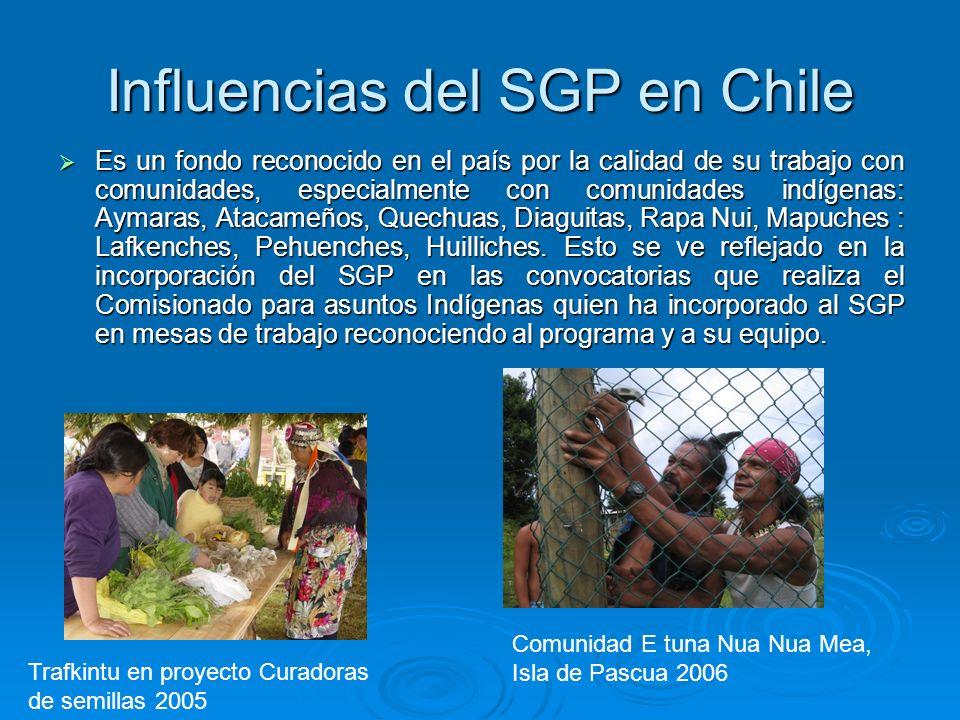 Influencias del SGP en Chile Es un fondo reconocido en el país por la calidad de su trabajo con comunidades, especialmente con comunidades indígenas:
