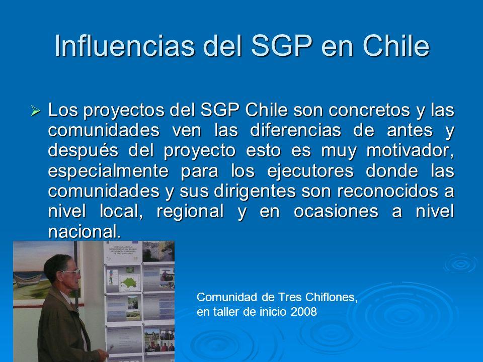 Influencias del SGP en Chile Los proyectos del SGP Chile son concretos y las comunidades ven las diferencias de antes y después del proyecto esto es m