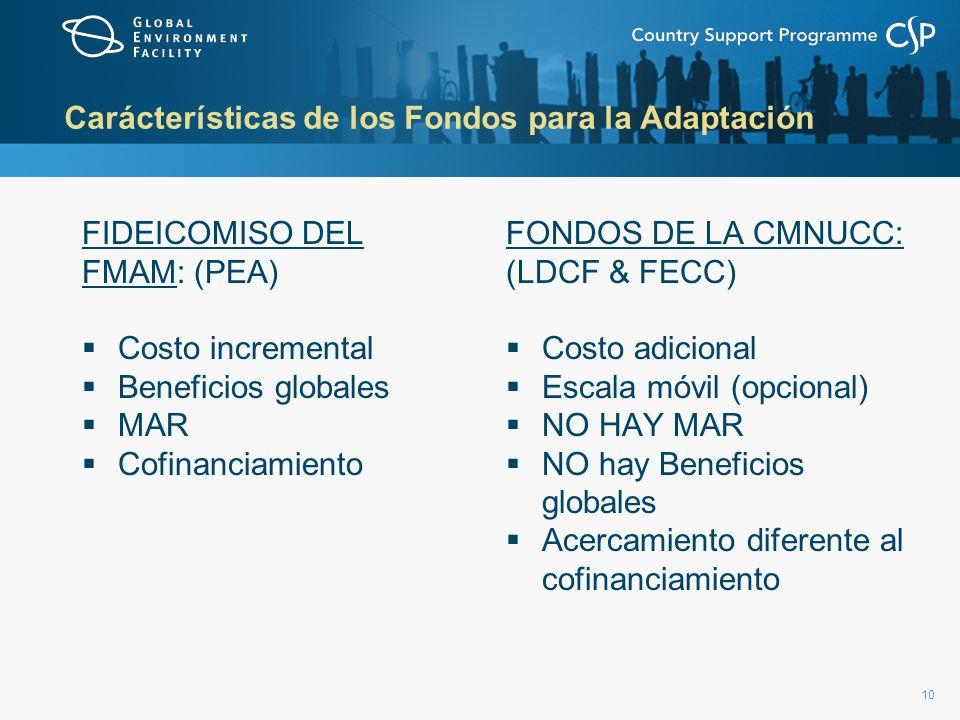 10 Carácterísticas de los Fondos para la Adaptación FIDEICOMISO DEL FMAM: (PEA) Costo incremental Beneficios globales MAR Cofinanciamiento FONDOS DE L