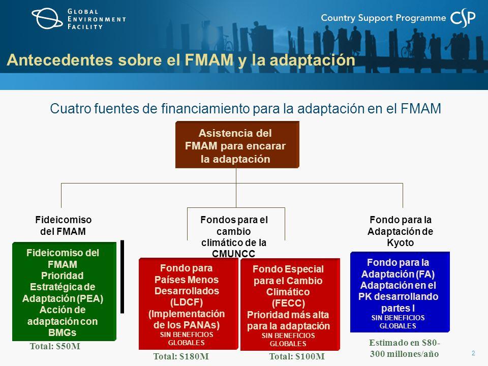 2 Antecedentes sobre el FMAM y la adaptación Cuatro fuentes de financiamiento para la adaptación en el FMAM Asistencia del FMAM para encarar la adapta