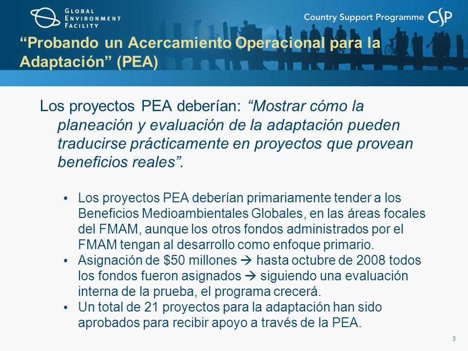 33 Probando un Acercamiento Operacional para la Adaptación (PEA) Los proyectos PEA deberían: Mostrar cómo la planeación y evaluación de la adaptación