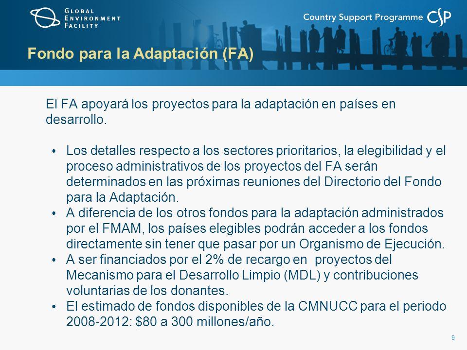 99 Fondo para la Adaptación (FA) El FA apoyará los proyectos para la adaptación en países en desarrollo. Los detalles respecto a los sectores priorita
