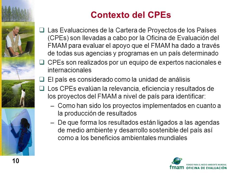 10 Contexto del CPEs Las Evaluaciones de la Cartera de Proyectos de los Países (CPEs) son llevadas a cabo por la Oficina de Evaluación del FMAM para e