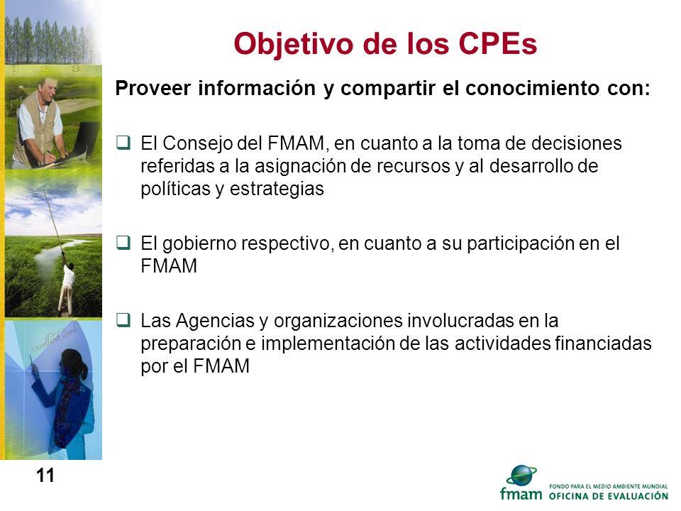 11 Objetivo de los CPEs Proveer información y compartir el conocimiento con: El Consejo del FMAM, en cuanto a la toma de decisiones referidas a la asi